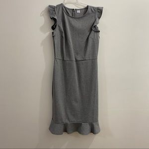 Fitted Knit Grey Ruffle Dress S